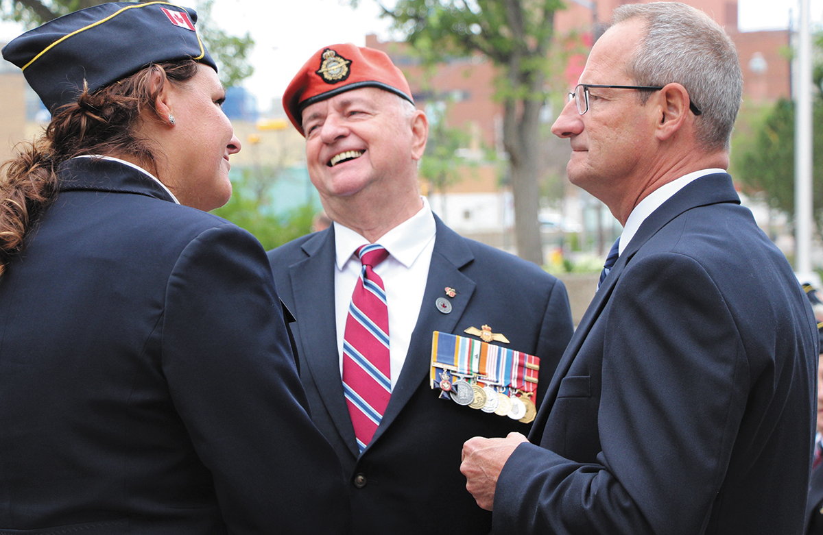 Veterans Ombudsman, Guy Parent, with Deanna Fimrite, Dominion Secretary-Treasurer of ANAVETS, and Jacques Bouchard, Deputy Chair of the Veterans Review and