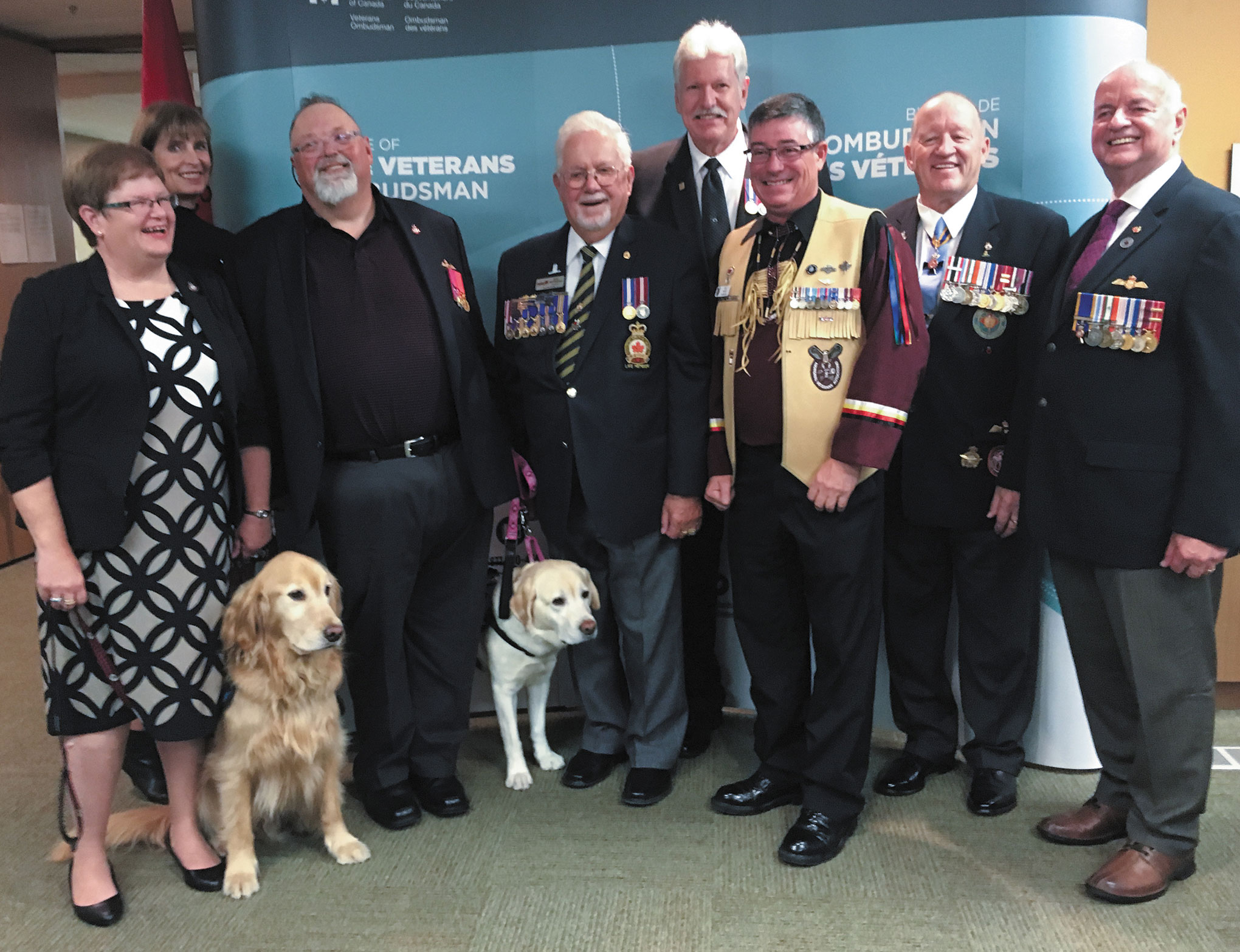 Veterans Ombudsman, Guy Parent, and Deputy Veterans Ombudsman, Sharon Squire, with the 2017 Veterans Ombudsman Commendation recipients